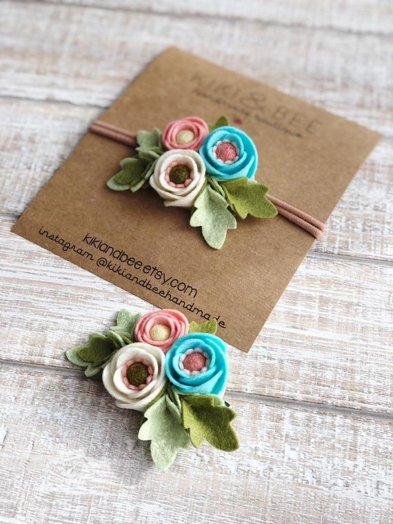 Felt flower hair clip barrette Baby Girl Toddler Teen floral | Etsy