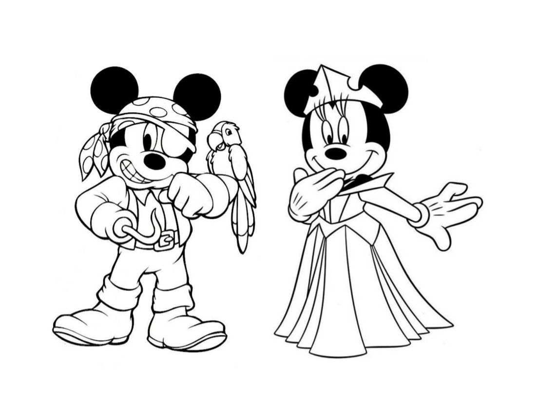 Pirates and Princesses coloring page Mickey and Minnie | Coloring ...