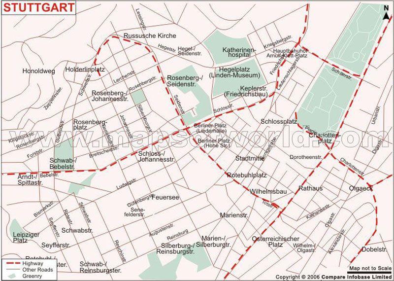 Stuttgart Map shows the various places and landmarks in Stuttgart