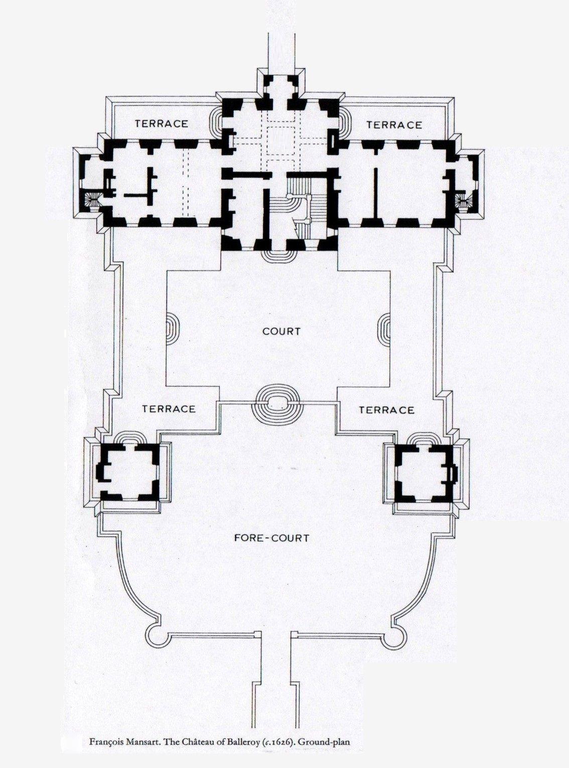 Chateau De Balleroy Normandie Plan Du Rez De Chaussee Architectural Floor Plans Castle Floor Plan Vintage House Plans