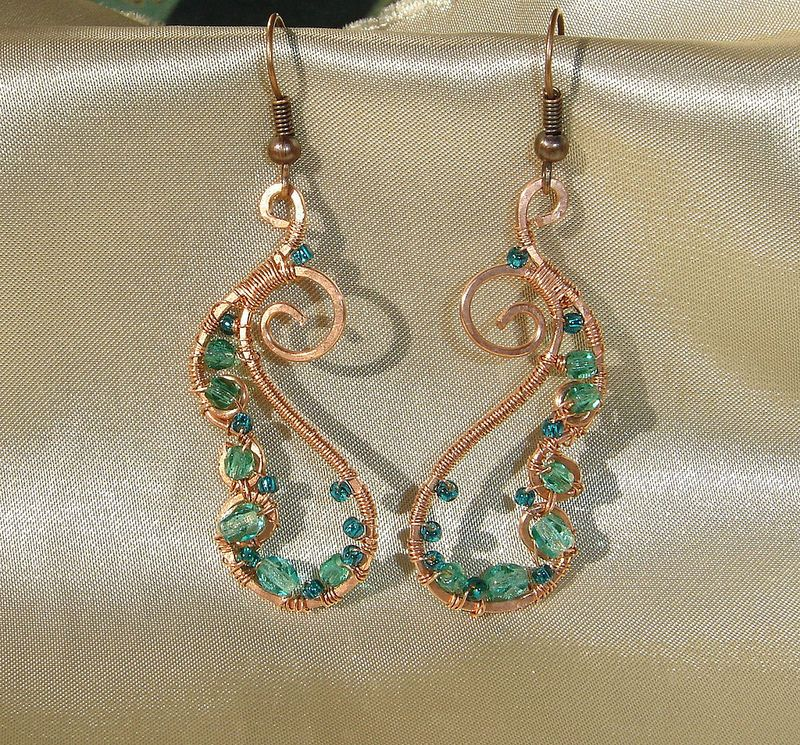 copper paisley wire wrapped earrings | Flickr - Photo Sharing!