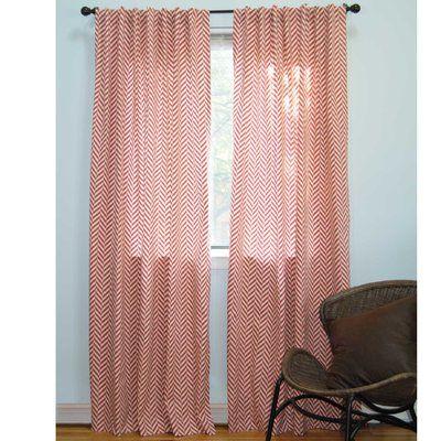 Ez Living Home Herringbone Chevron Semi Sheer Tab Top Curtain