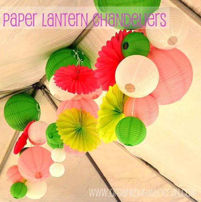 How to make paper lantern chandeliers...big and small!