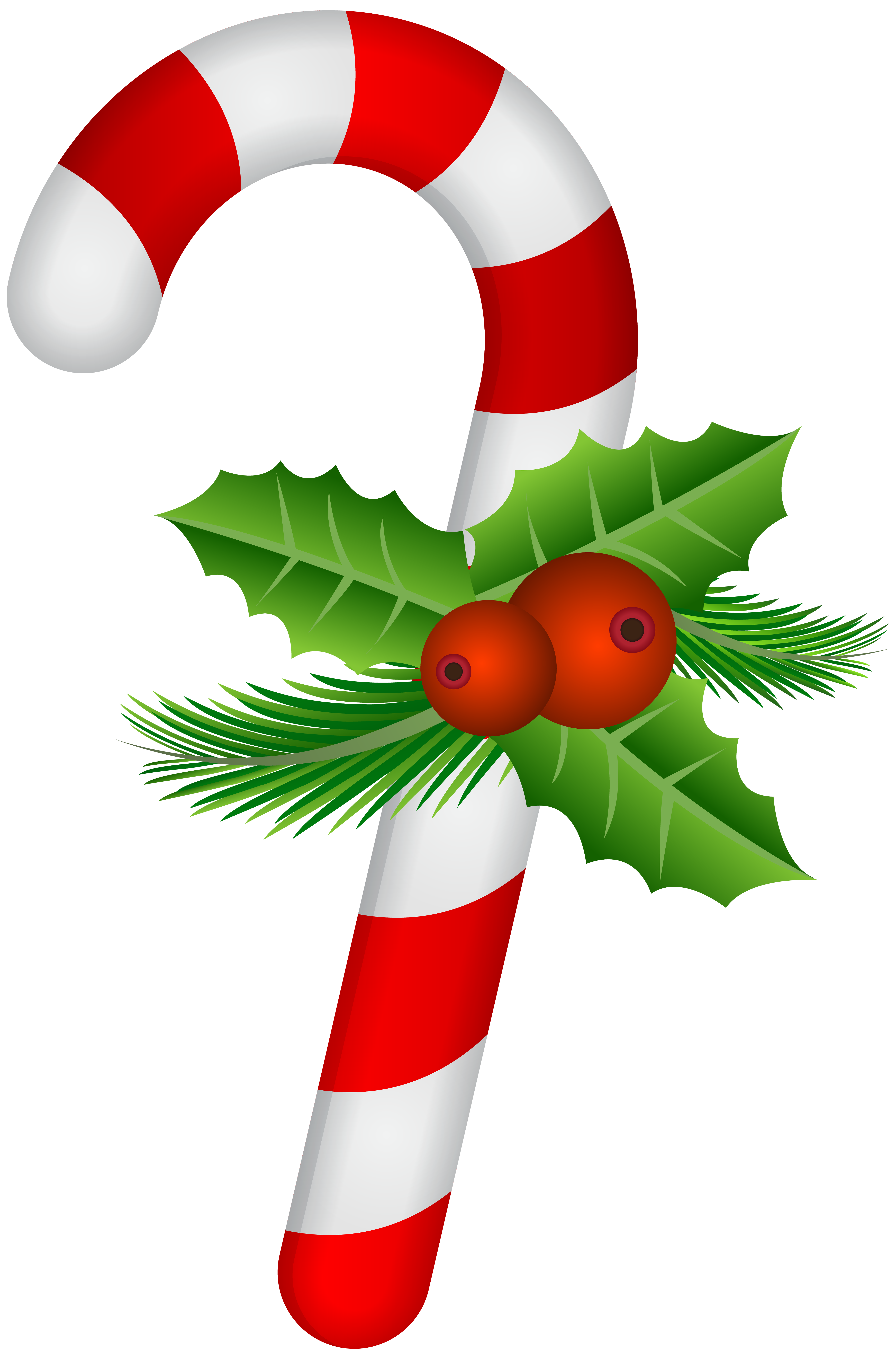 Candy cane with holly transparent png clip art imagenes for Christmas images paintings