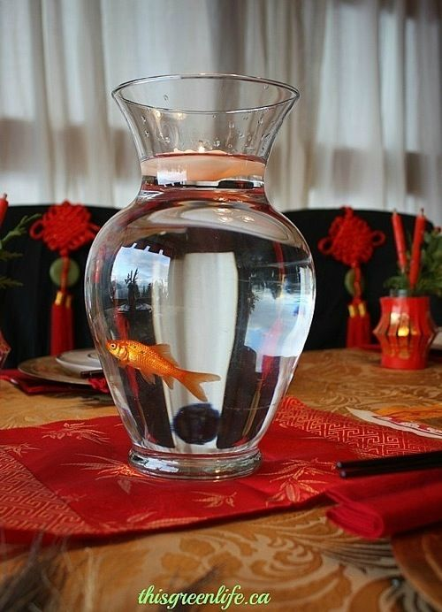 gold fish centerpiece... would God smite us?