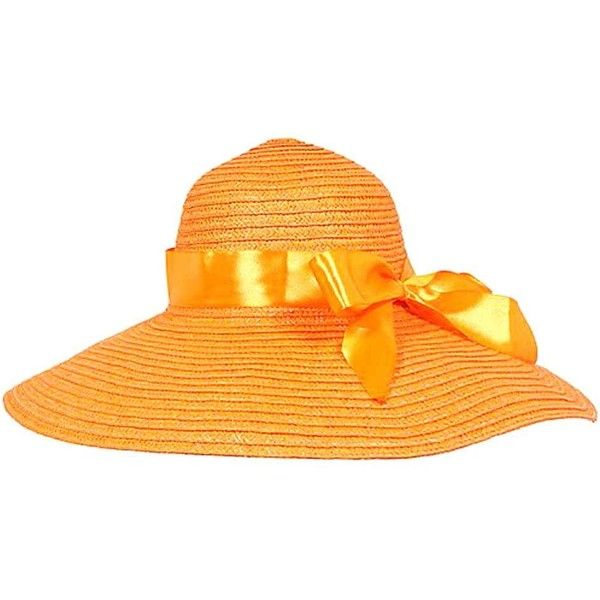 Orange Wide Brim Sun Hat With Satin Bow ( 18) ❤ liked on Polyvore featuring  accessories a117bab79dbc
