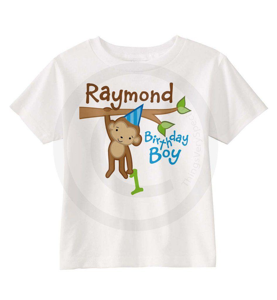 Monkey Safari Or Zoo Theme Birthday Shirt For Boys 05012014f