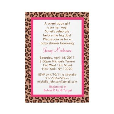 cheetah girl animal print baby shower invitations baby showers