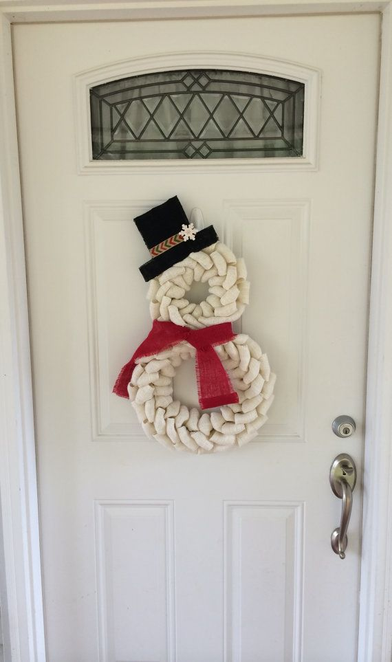 Snowman wreath  Burlap wreath  Christmas wreath  by TheCraftinBear