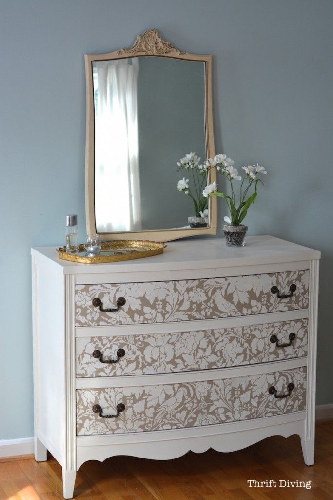 French Floral Damask Wall Stencil Furniture Furniture