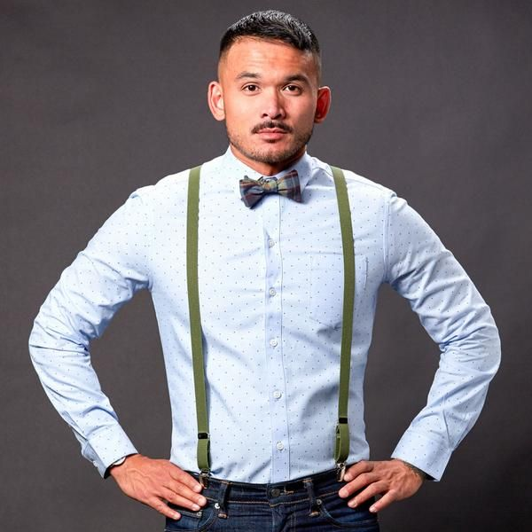 Green Skinny Elastic Suspenders | Suspenders, Bowties and ...