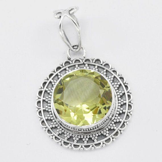 925 sterling silver lemon quartz pendant round by devmuktijewels 925 sterling silver lemon quartz pendant round by devmuktijewels mozeypictures Images