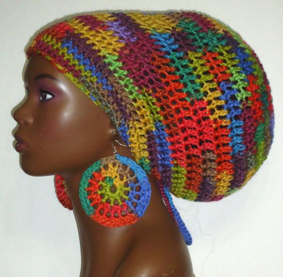 Color Explosion Crochet Large Rasta Hat Tam Cap with Drawstring and ...