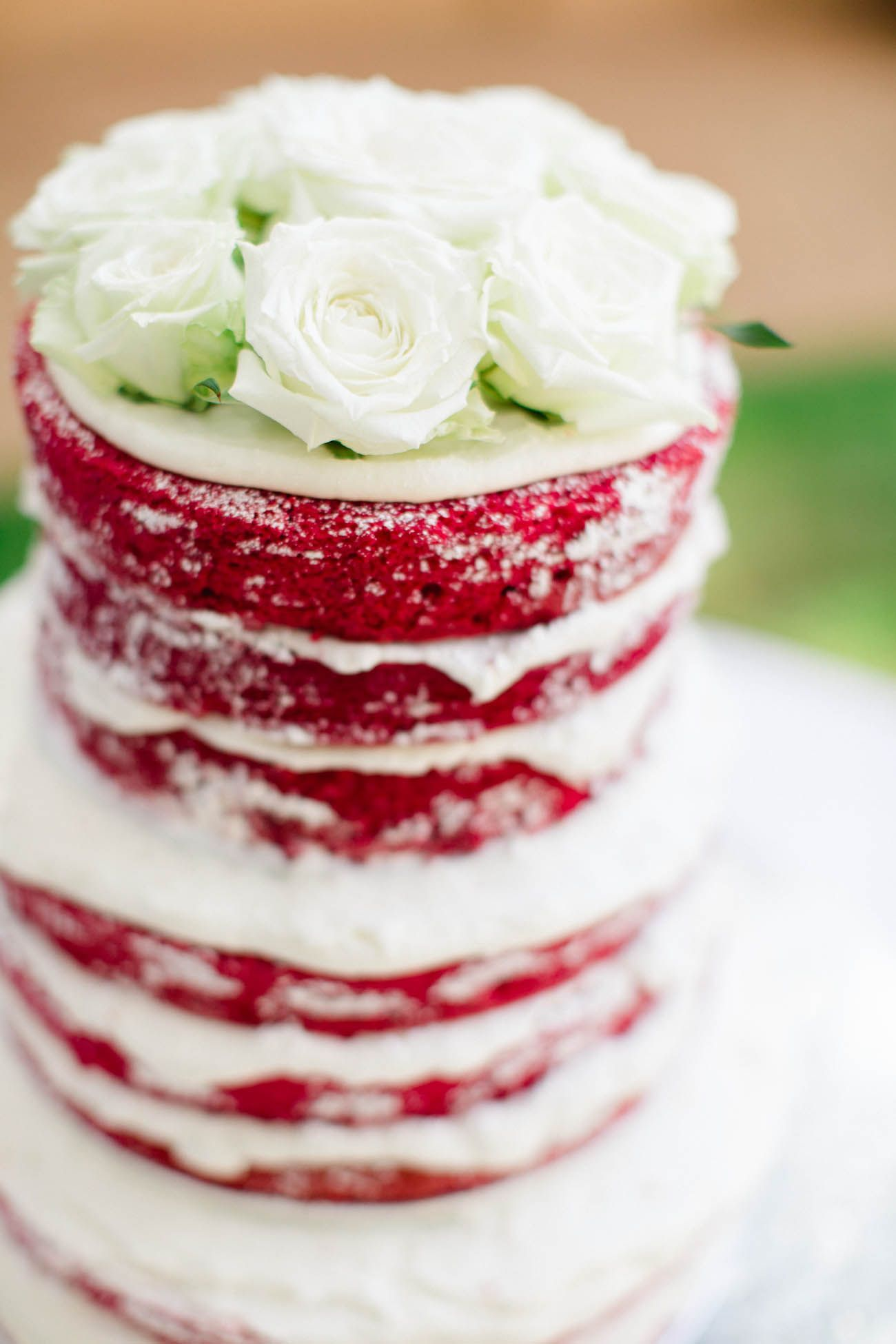 A Red Rustic Naked Cake Can You Say Velvet Yes