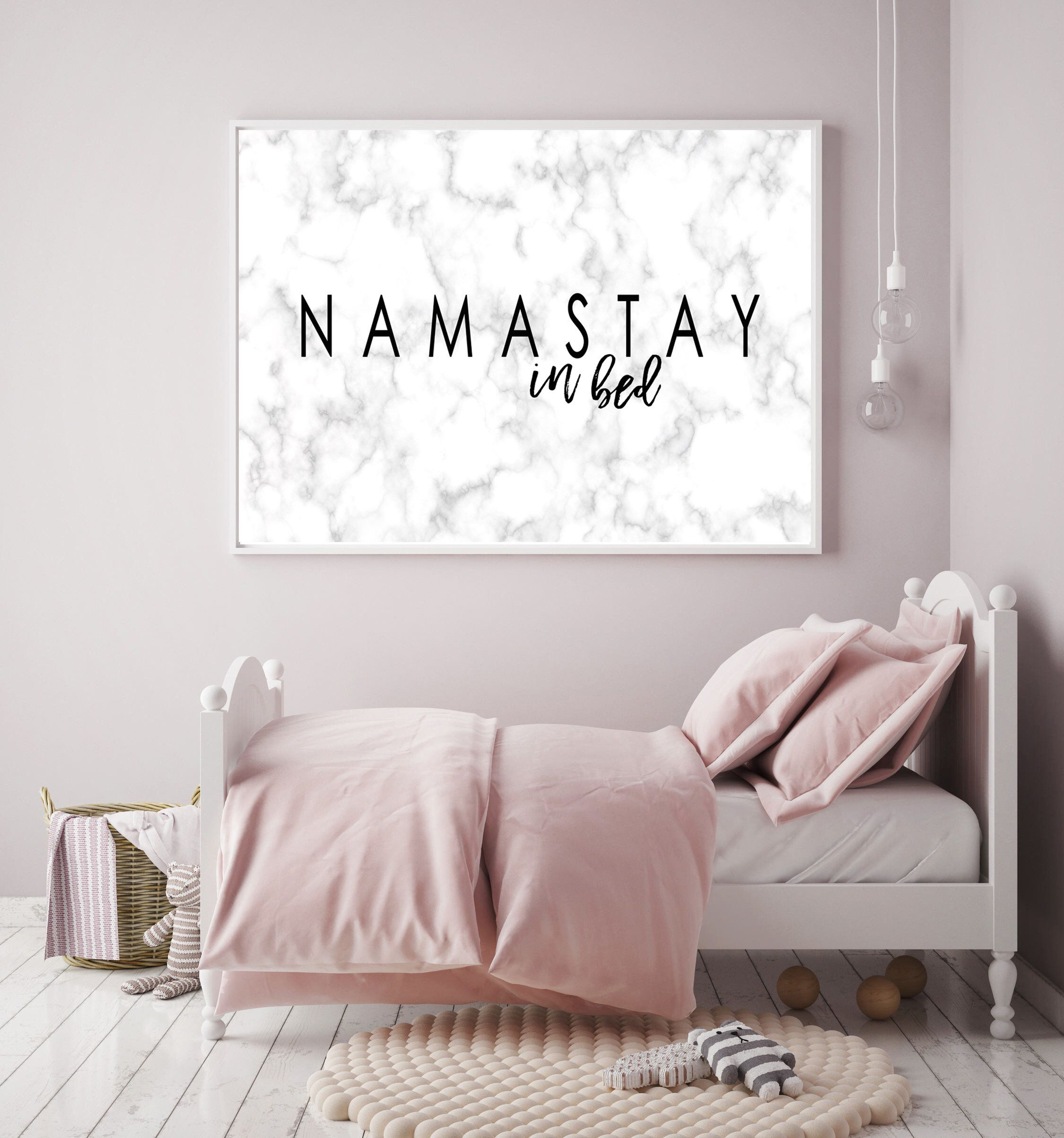 Namastay In Bed Print Namaste Marble Print Bedroom Decor Etsy Bedroom Decor Yoga Decor Bedroom Wall