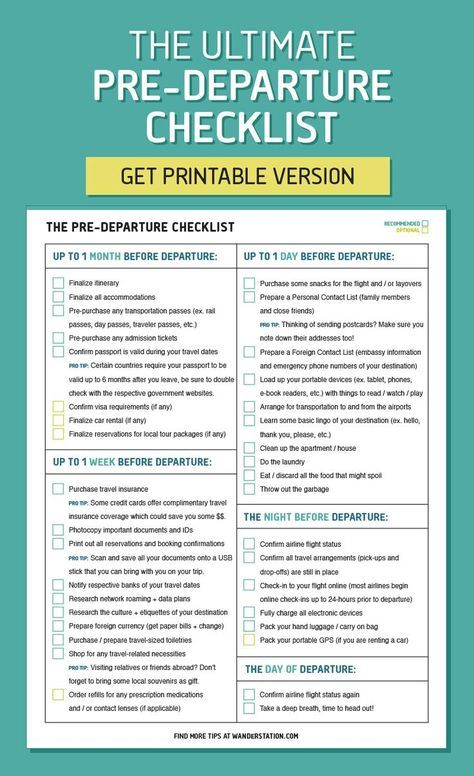The ultimate pre-departure checklist - from finalizing your - travel itinerary template
