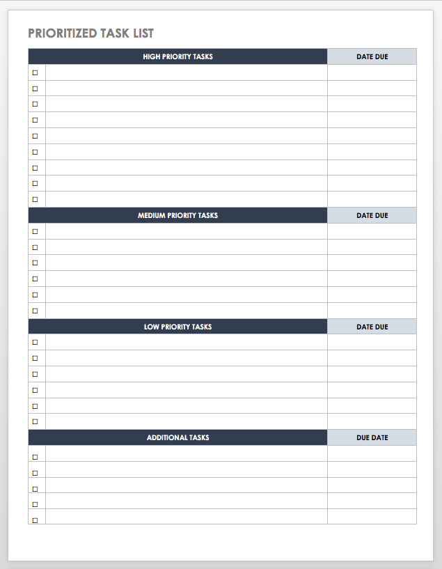 Prioritized Task List Time Management Worksheet Time Management Printable Time Management