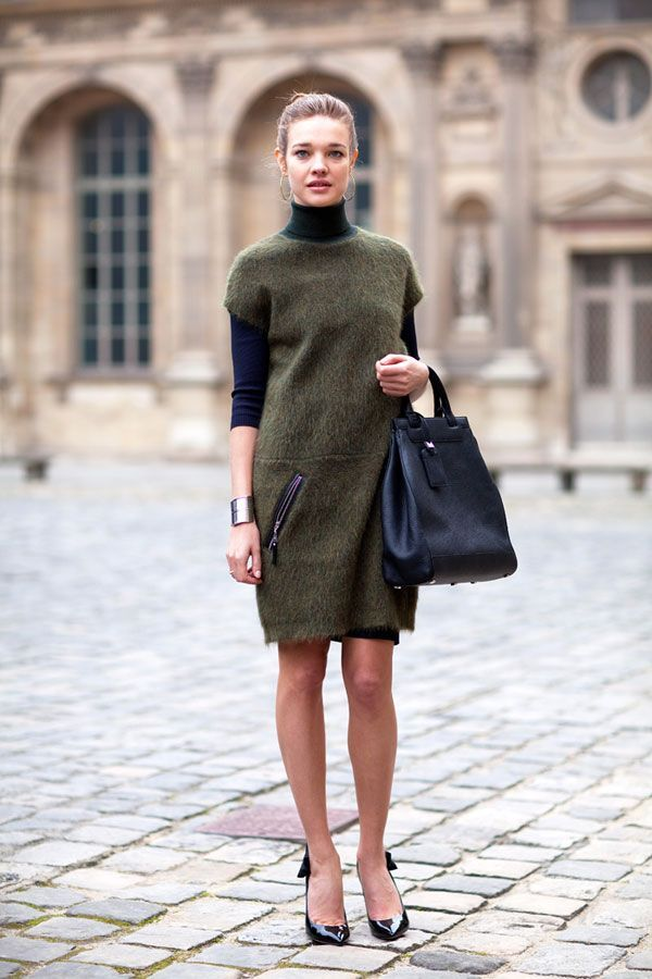 Fashion Week: Street Style Natalia Vadianova is perfectly elegant in a green shift and black, bow-detailed heels  Paris Fashion Week - Street Style