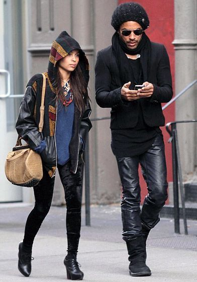 Father and daughter-Lenny Kravitz & Zoe #zoekravitzstyle