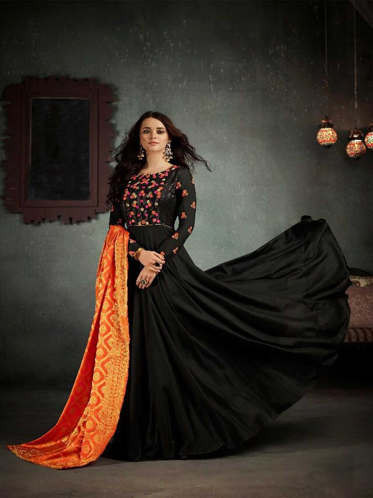 592bd3d32f Buy black color embroidered semi stitched salwar suit for women online at  best prices. Style yourself with party wear designer salwar kameez with  free ...