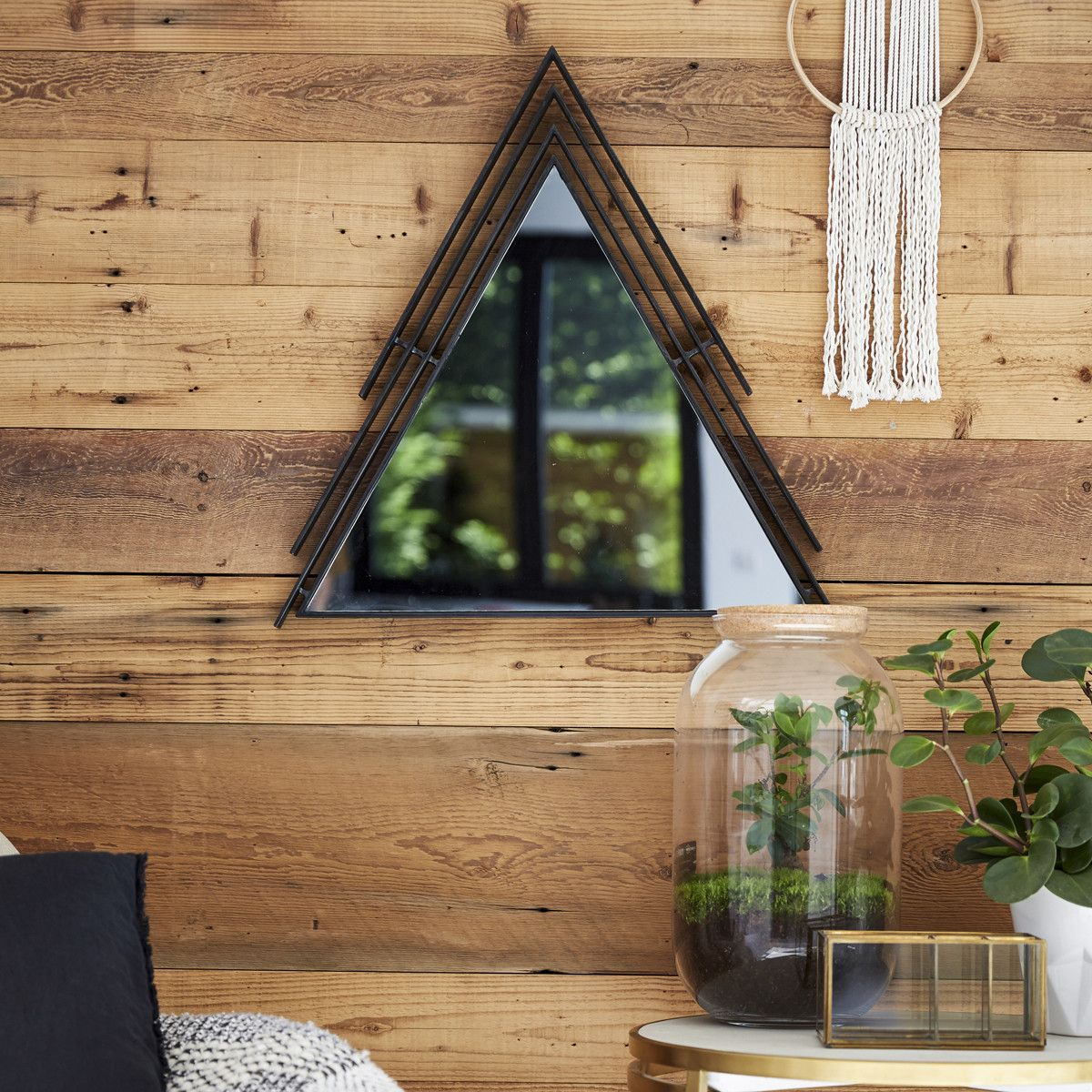 Maho Triangular Painted Metal Framed Mirror 60 In 2020 Mirrors