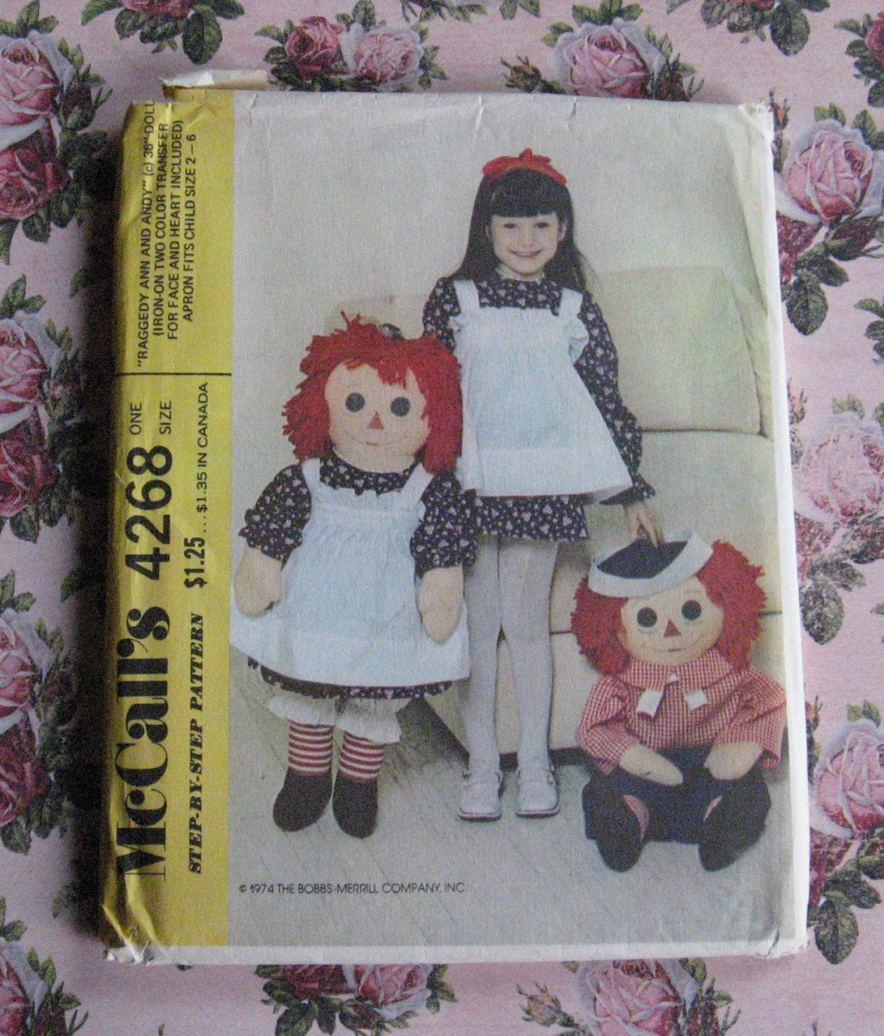 Vintage McCall Step By Step 1970's Pattern UNUSED Large Raggedy Ann & Raggedy Andy Doll Patterns Plus Girl's Raggedy Ann Dress Or Costume by MyPastLivesVintage on Etsy