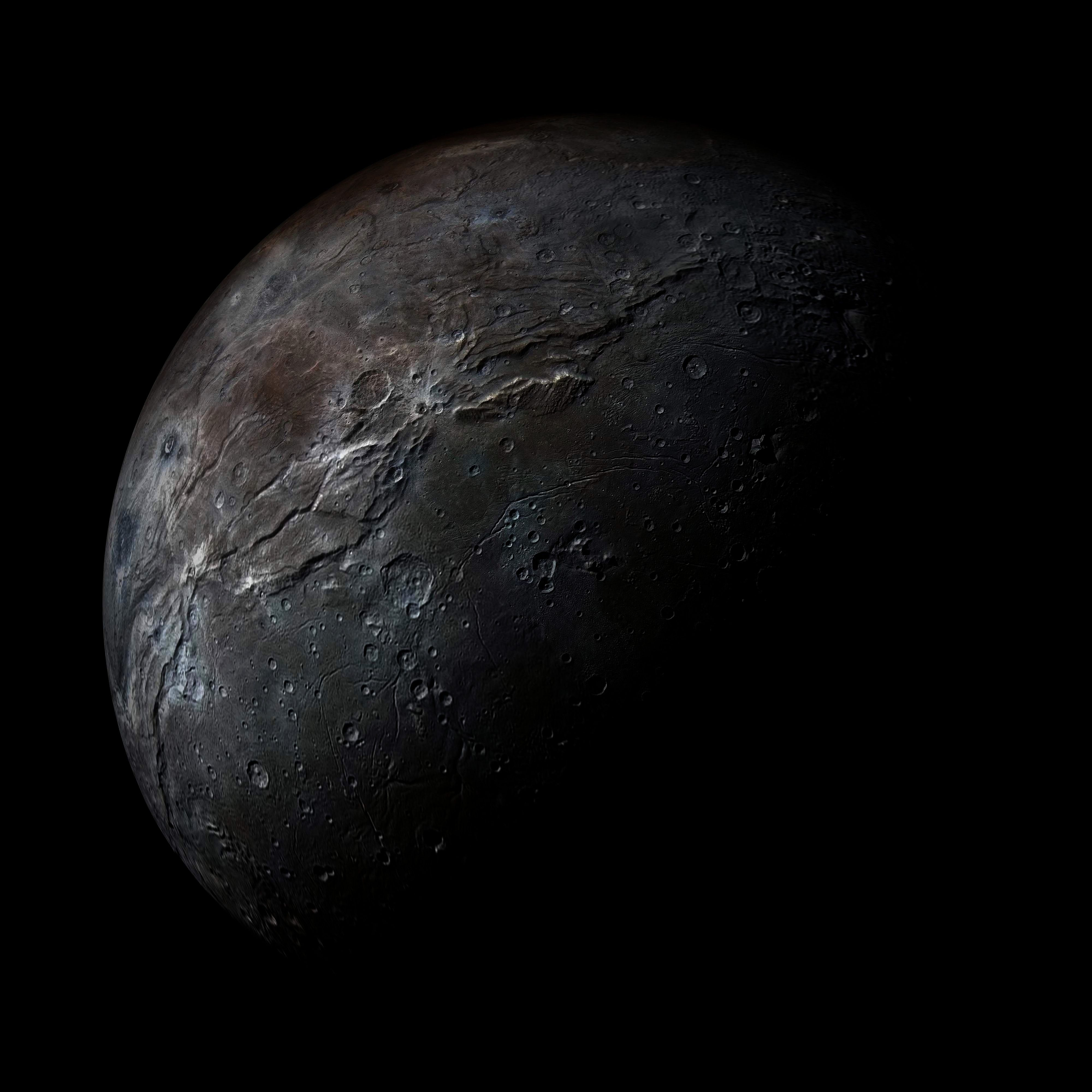 In Your Place  Spaceporn  Space On Your Face In Your Place Plutos moon Charon It has half the diameter of Pluto and is so large that the two bodies orbit a point between...