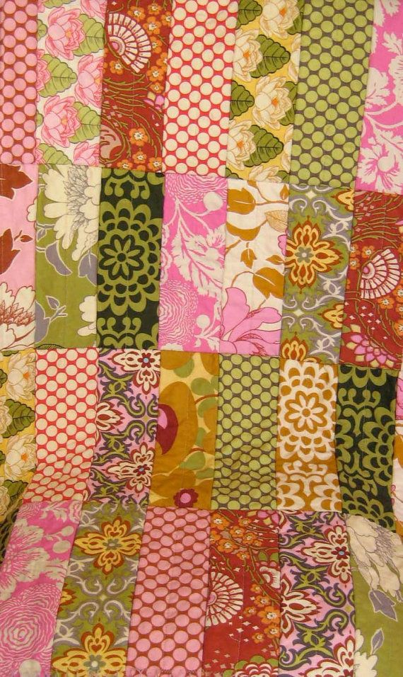 Rag QuiltAmy Butler Lotus Rag Strip Quilt by onasmallscale on Etsy