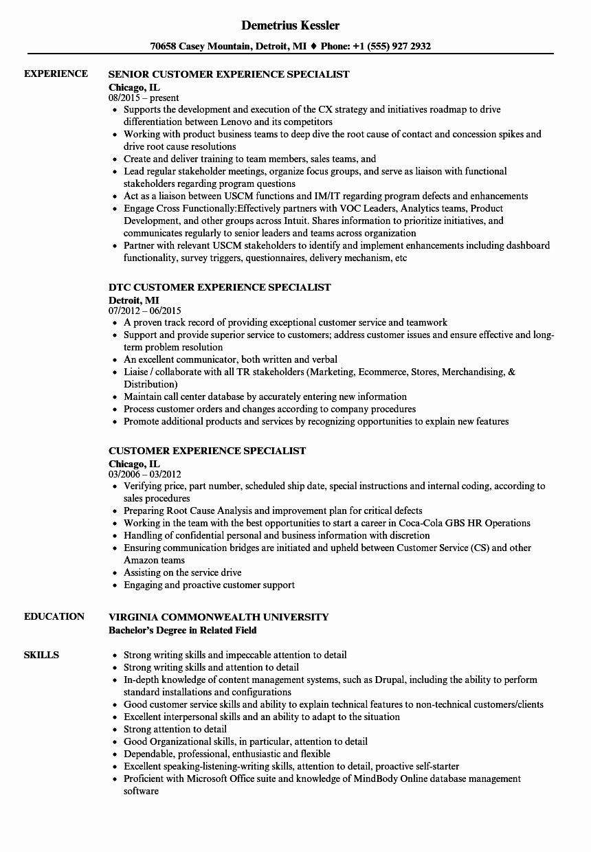 Customer Support Specialist Resume Lovely Customer Experience Specialist Resume Samples