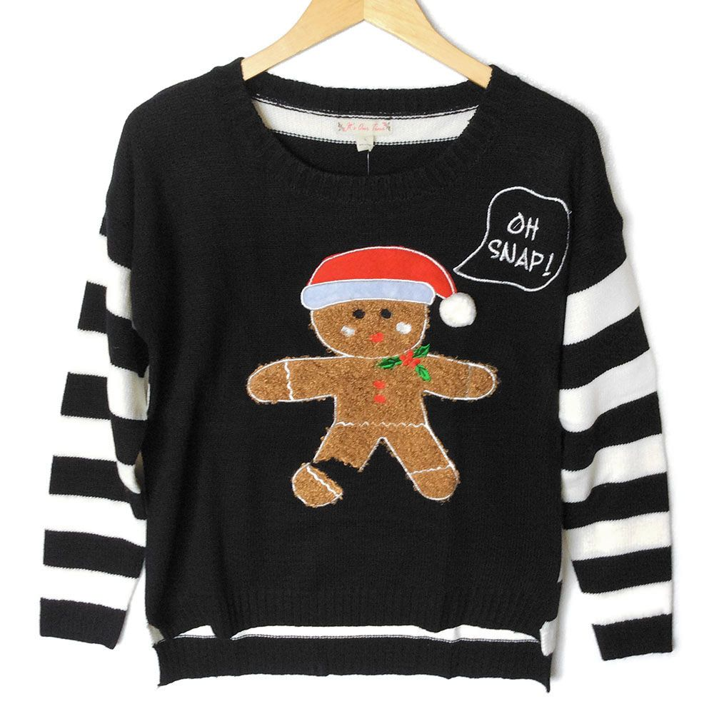 Oh Snap Fuzzy Gingerbread Man Tacky Ugly Christmas Sweater   FUN ...