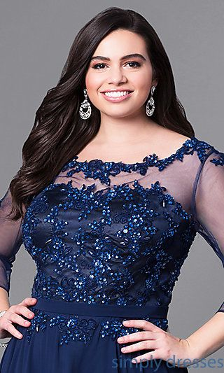 Long Plus-Size Prom Dress with Beaded Lace and Sleeves in ...