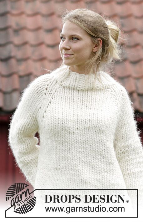 Knitted jumper with raglan, high collar and split in the sides ...