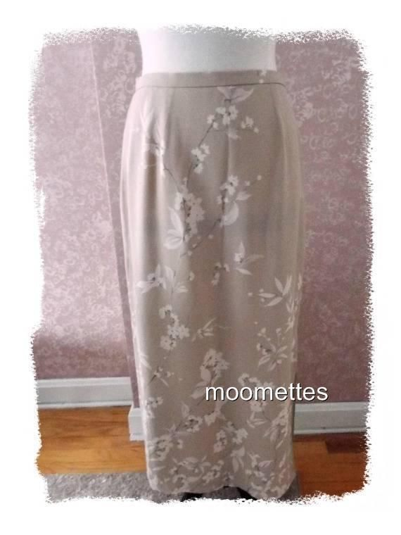 City Spirit Delicate Silk Long Skirt 12 Maxi Skirt Beige Floral Womens Large #CitySpiritCollection #Maxi