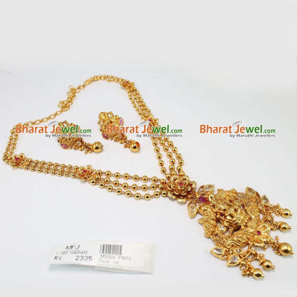 062138a9a9df6 1GM Gold Dip Ruby Stone Lakshmi Haram Online   Bharatjewel.com ...