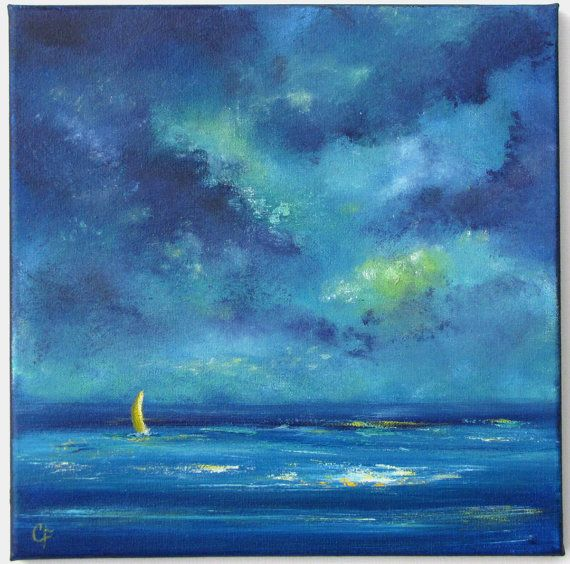 Original Abstract Landscape And Seascape Paintings For Your Home Title Cloud Curiosities 2 Pintura Con Veleros Pinturas De Oceano Pinturas Del Atardecer