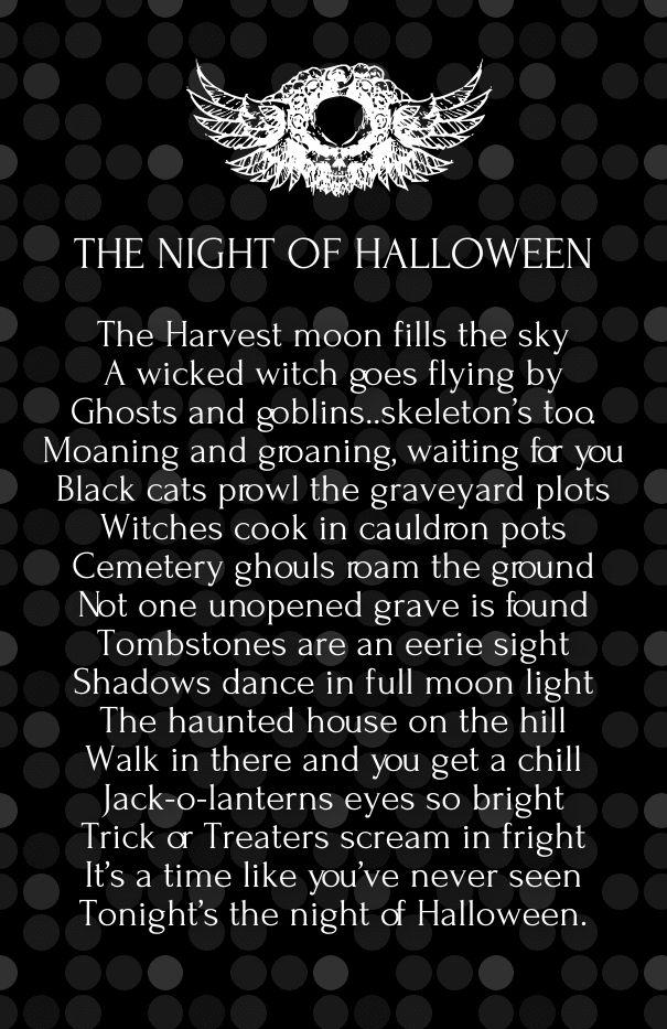 halloween horror poems | Best Quotes | Pinterest | Cute halloween ...