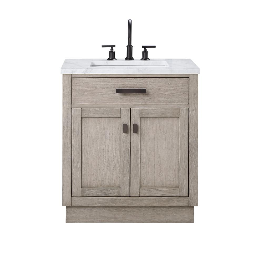 Water Creation Chestnut 30 In W X 21 5 In D Vanity In Grey Oak With Marble Vanity Top In White With White Basin Ch30a 0300gk The Home Depot In 2020 Marble Vanity