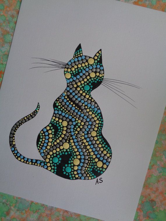 DOT ART / Cat Painting / Abstract Art Print of by ...