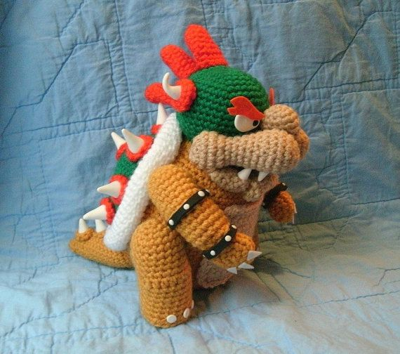 Bowser doll super mario brothers crochet by whatnotsbylori 3000 bowser doll super mario brothers crochet amigurumi bowser dt1010fo