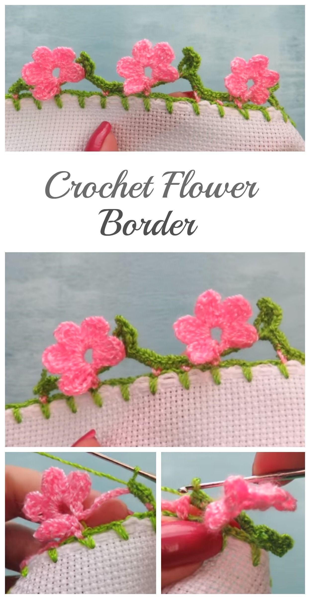 Crochet Beautiful Flower Border #crochetflowers | Crochet Flowers ...