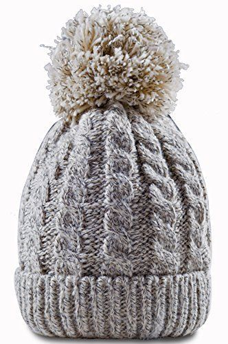 99f47c1bea2 Women-039-s-Winter-Beanie-with-Warm -Lining-Thick-Slouchy-Cable-Knit-Skull-Hat-Pom