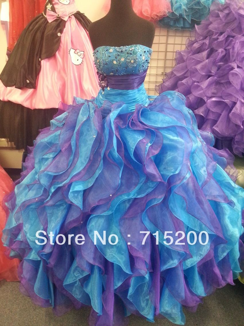 290429 scoop ballgown pageant purple/turquoise Quinceanera Dresses ...