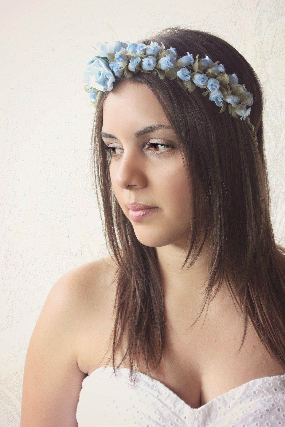 Blue rose floral crown woodland flower girl by