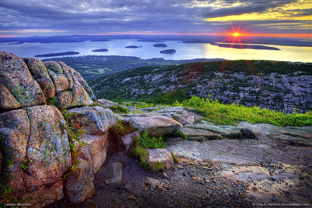 The sun has just appeared at the horizon as seen from Cadillac Mountain in Bar Harbor, Maine in Acadia National Park. Description from pinterest.com. I searched for this on bing.com/images