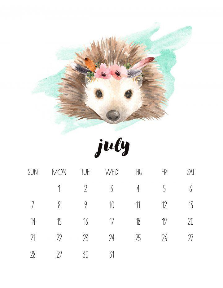 Free Printable 2019 Watercolor Animal Calendar calendar