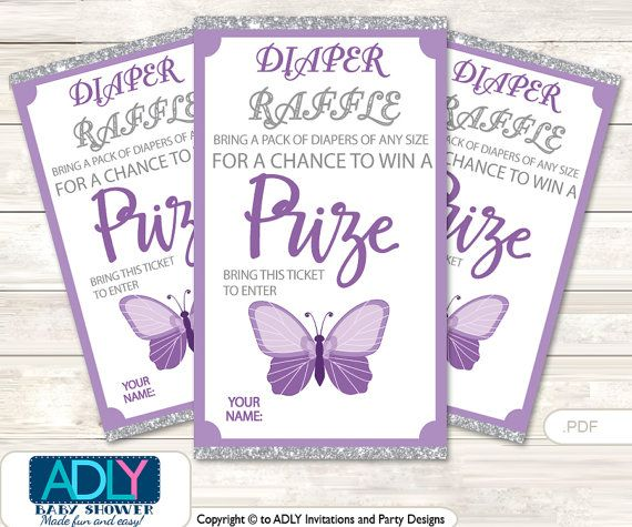 Purple Butterfly Diaper Raffle Tickets by adlyowlinvitations - printable raffle ticket template free
