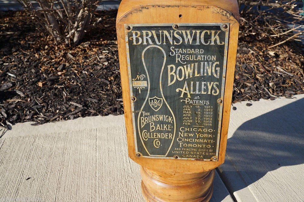 1911 16 Brunswick Balke Collender Bowling Ball Return 2 Signs Wooden Post   eBay