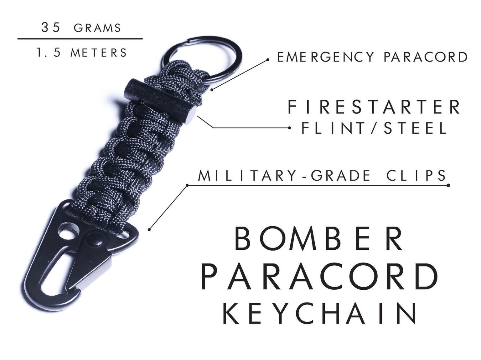 Firestarter Paracord Bracelet, Paracord Keychain, Duffle Bag Survival Gear by Bomber & Company
