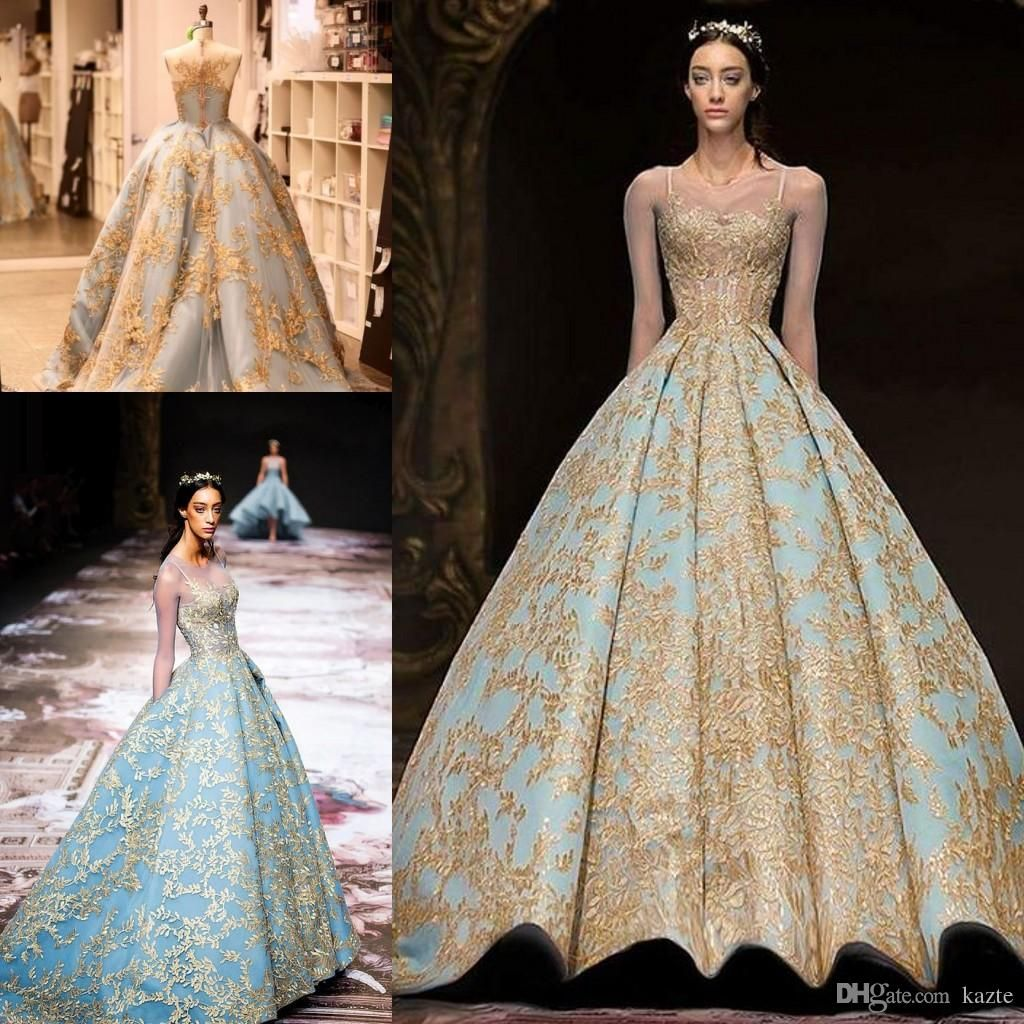 Michael Cinco 2018 Gold Lace Ball Gown Prom Queen Dresses Modest Illusion Long  Sleeve Sky Blue Plus Size Dubai Arabic Evening Dress Mermaid Wedding Dress  ... a33487639a75