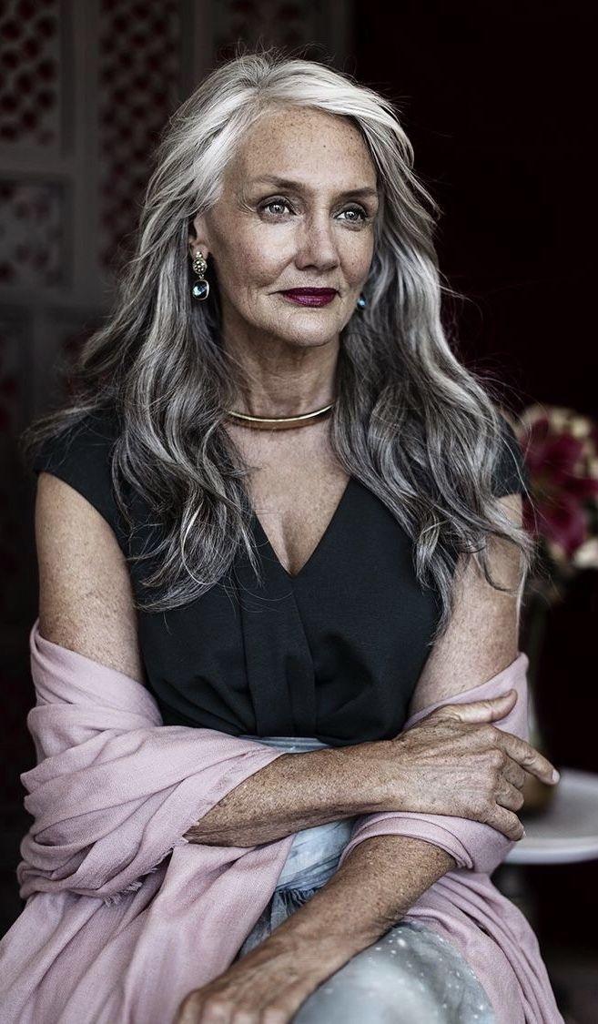 aginggracefully beauty aging  long gray hair
